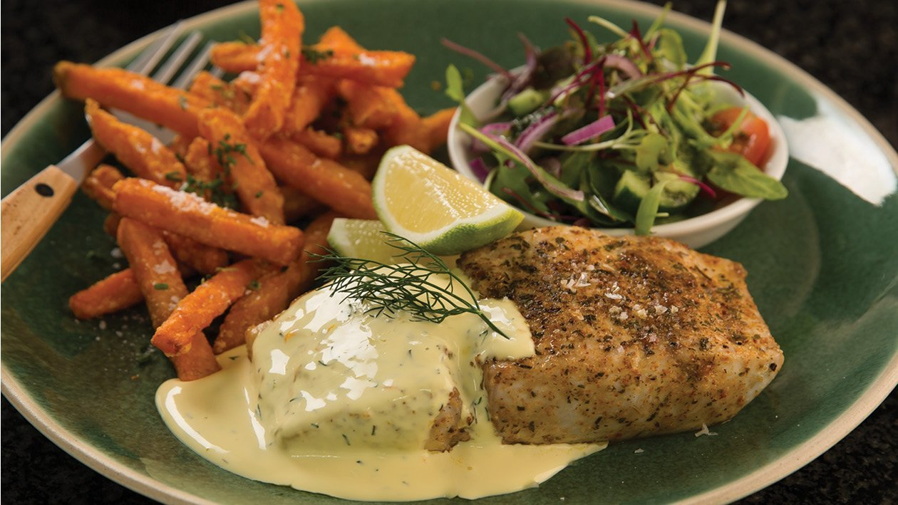 Pan-Fried Line Fish with Orange and Dill Hollandaise Sauce