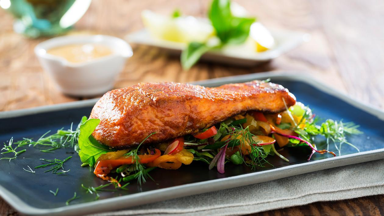 Paprika Flavored Norwegian Seared Salmon with Caramelized Red Peppers