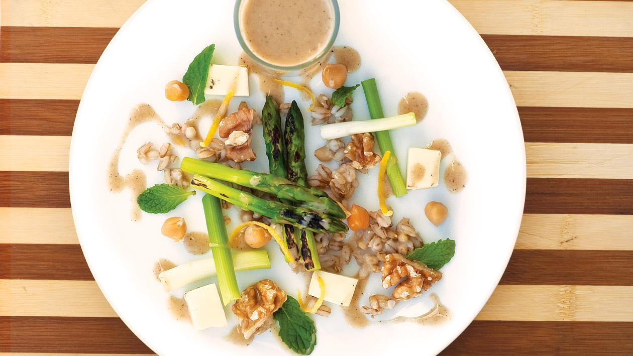Pearl Barley, Grilled Asparagus, Halloumi and Chickpea Salad