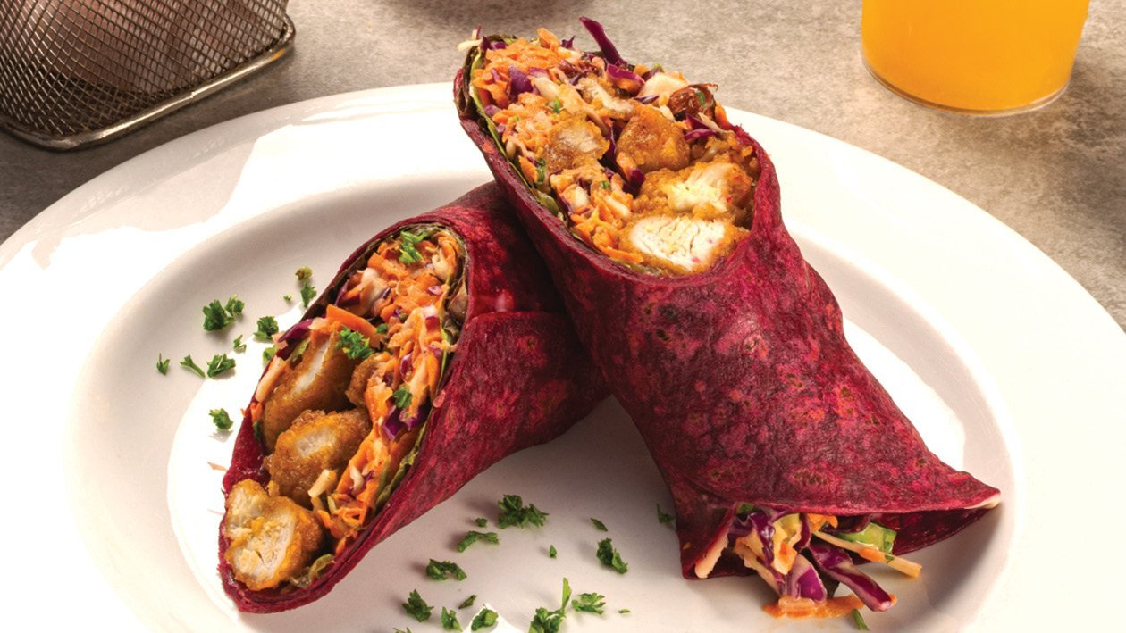 Popcorn Chicken, Beetroot Wrap with Crisp, Sweet & Sour Slaw