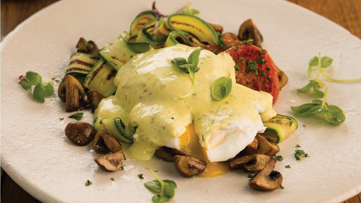 Portabella Mushrooms, Eggs Benedict With Pesto Hollandaise