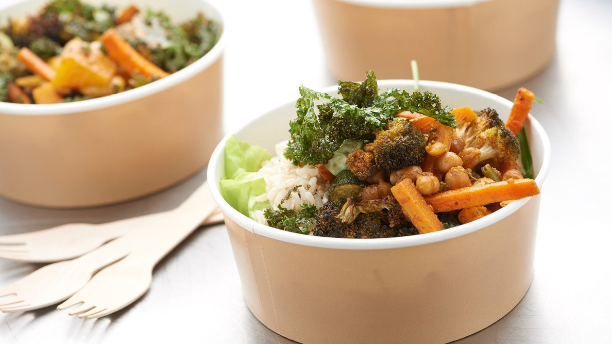 Roast Vegetable, Kale and Cashew Bowl