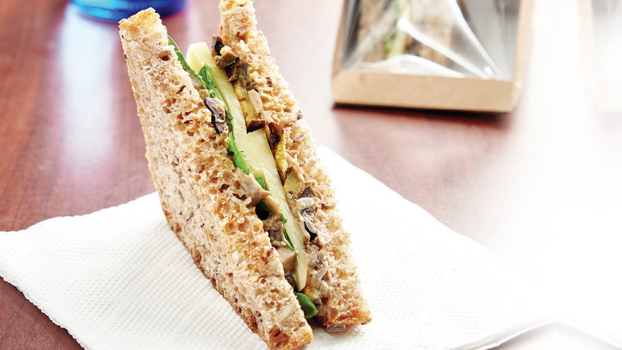 Roasted Eggplant, Mushroom and Mozzarella Sandwich