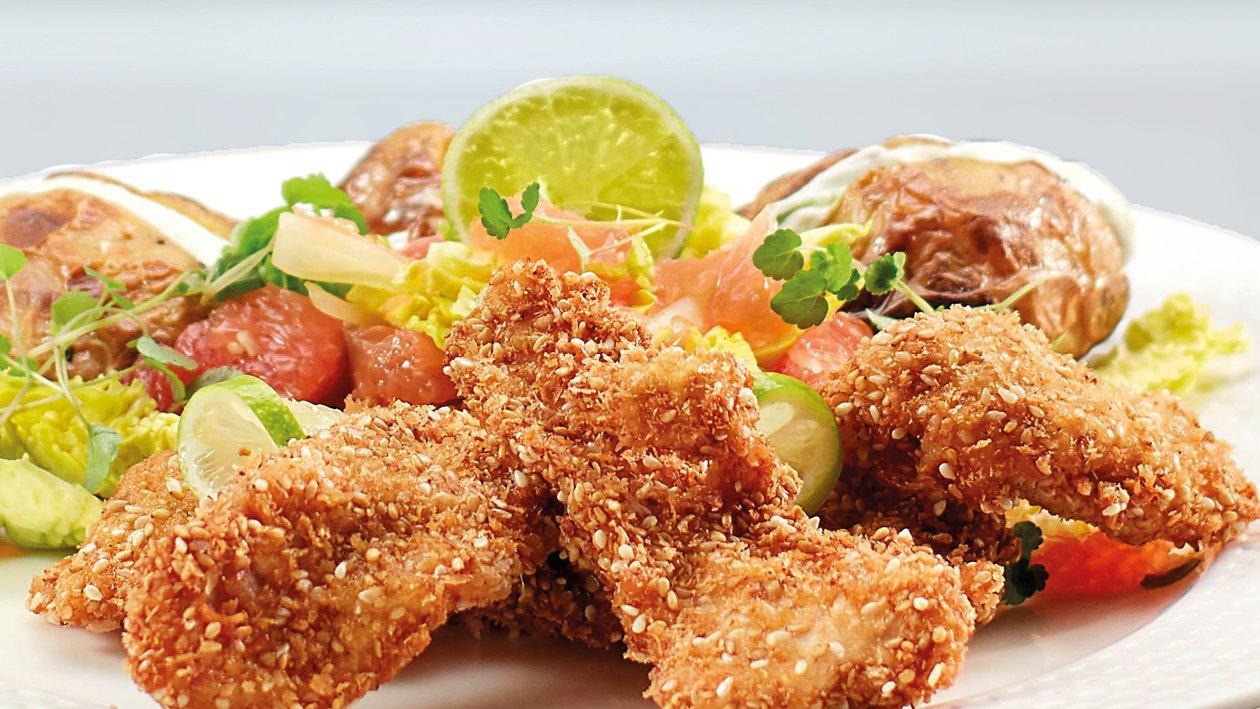 Sesame Crusted Aubergine Schnitzel