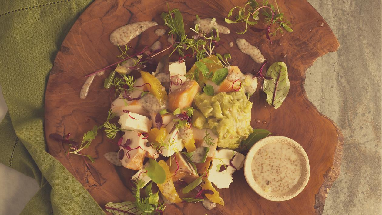 Smoked Chicken, Feta and Guacamole Salad with Orange and Chia Seed Dressing