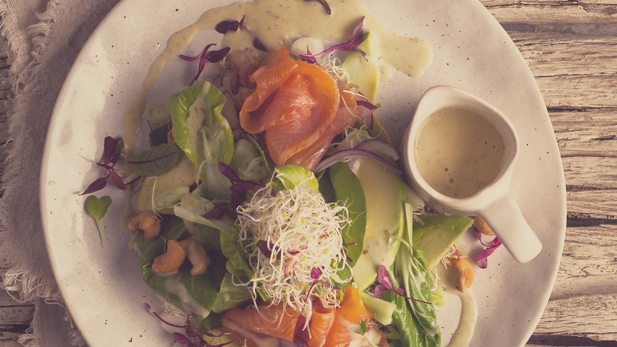 Smoked Trout, Bok Choy and Avocado Salad with Alfafa  Sprouts and a Creamy Spicy Dressing