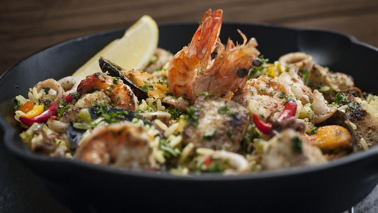 Spicy Grilled Melange of Seafood, tossed in Lemon Centered Savory Rice