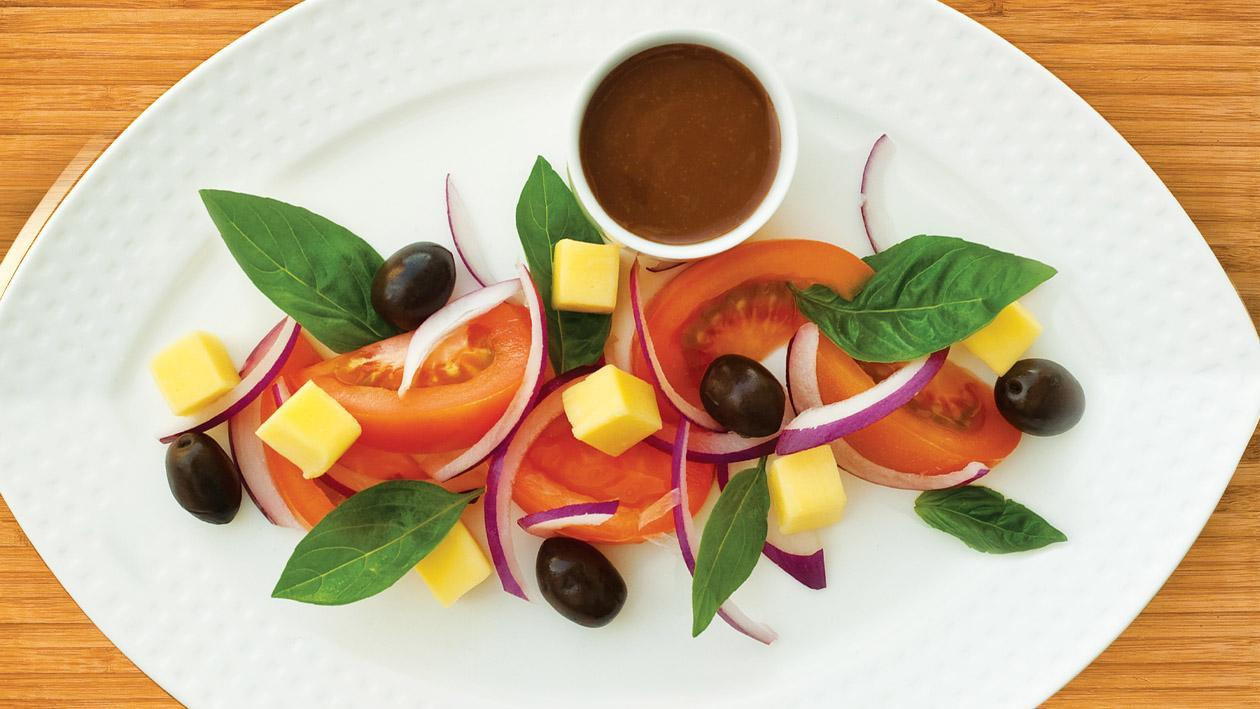Tomato, Olive, Basil & Mozarella Salad with a Balsamic Honey & Mustard Dressing