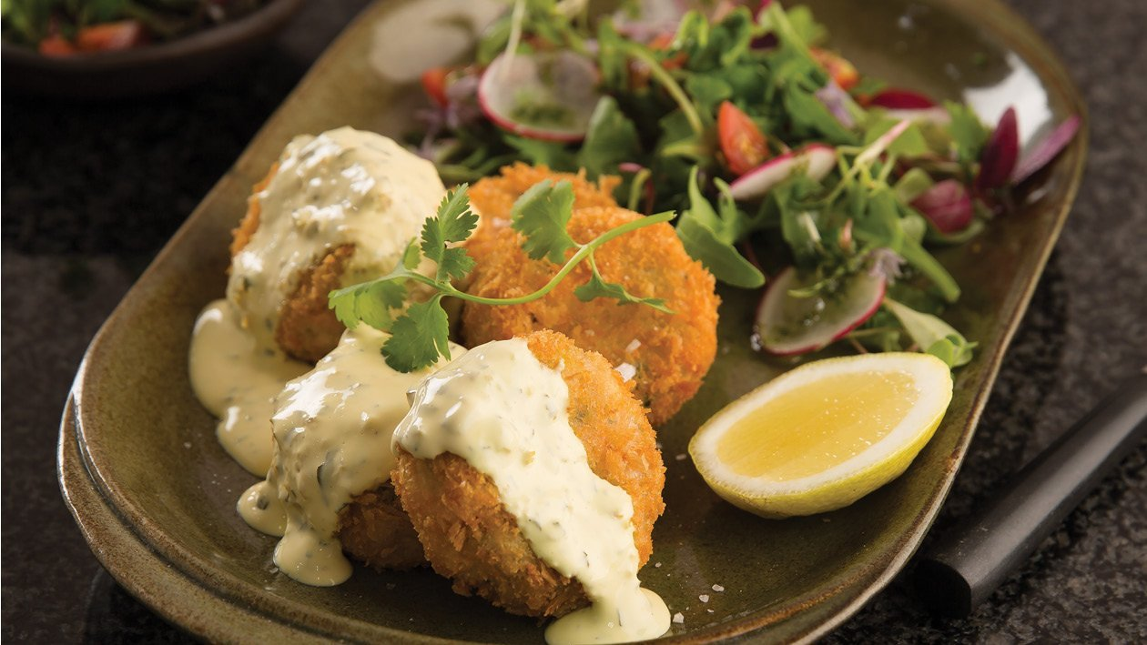 Trout Fishcakes Served With Jalapeño & Coriander Hollandaise Sauce