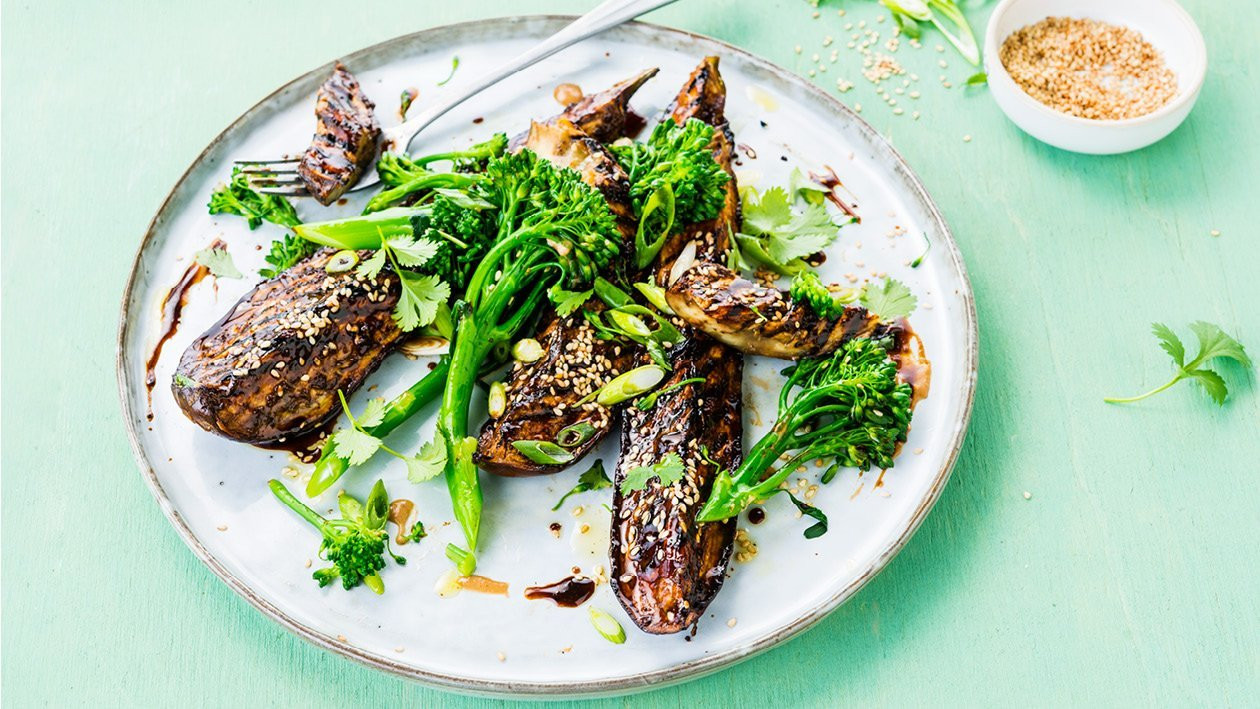 "Vegan Aubergine ""Ribs"" with Hoisin, Broccoli Rabe (Tenderstem), Spring Onion and Sesame Seeds"