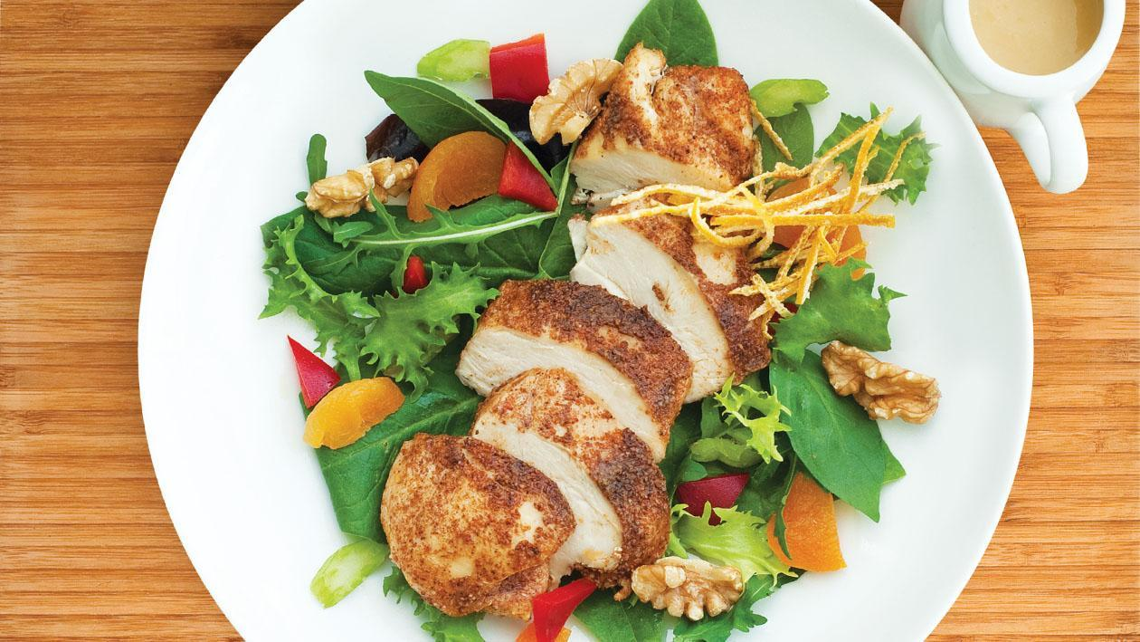 Warm Chicken, Celery, Apricot and Walnut Salad with a Burnt Orange Honey and Mustard Dressing