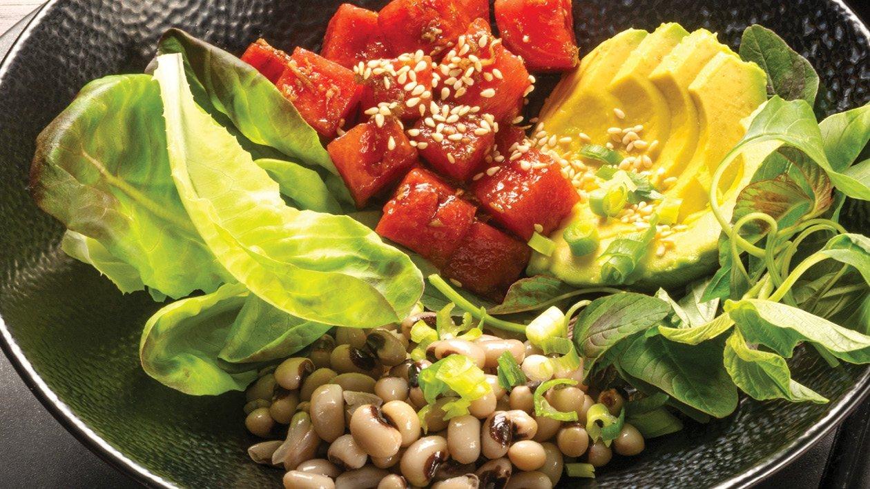 Watermelon, Beetroot, Amaranth Leaves, and Cowpeas Poké Bowl