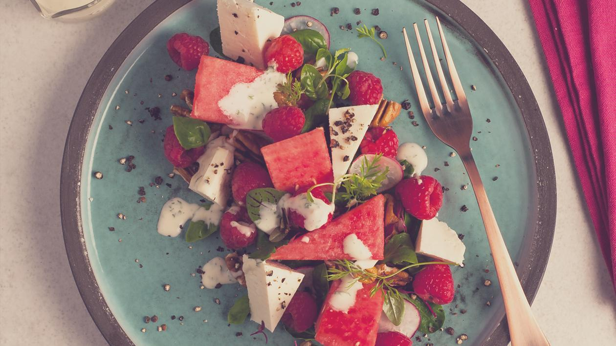 Watermelon, Ricotta and Raspberry Salad with a herbed Creme Fraiche Dressing