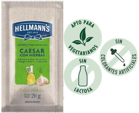 Aderezo Caesar c/hierbas Hellmann's 20g (Exclusivo de Argentina y Uruguay). -