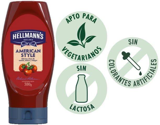 Hellmann's Ketchup Tradicional Squeeze 24x380GR - Aderezo a base de tomate.  Fórmula con más sabor, color y consistencia.