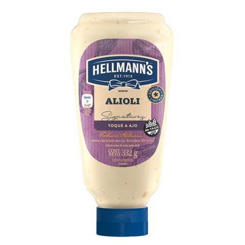 Hellmann's Mayonesa Squeeze Alioli 24x332GR - Mayonesa sabor ajo.