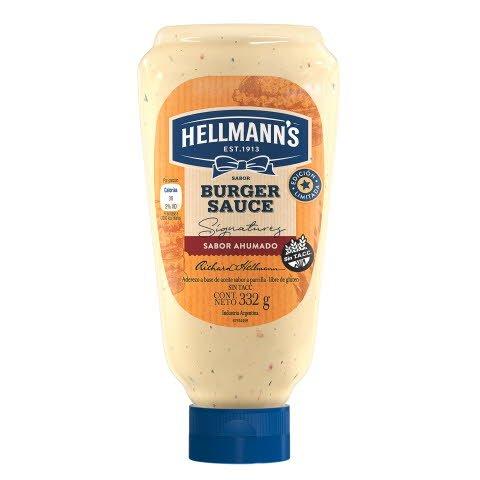Hellmann's Mayonesa Squeeze Burger Sauce 24x332GR - Mayonesa saborizada ahumada