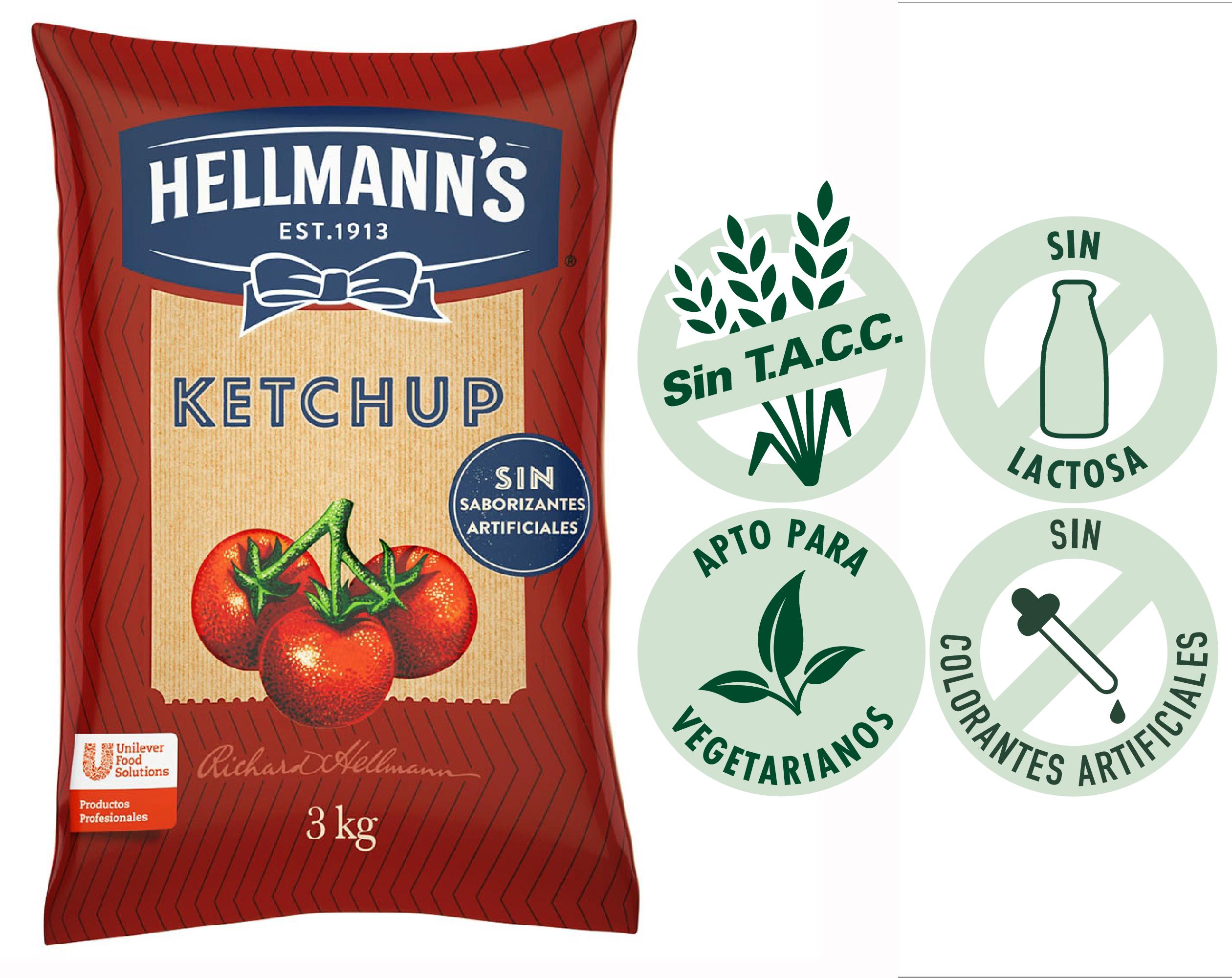 Ketchup Hellmann's 3KG - El ketchup Hellmann's es naturalmente rico para que puedas sorprender a tus comensales con la mejor calidad y el mejor sabor.