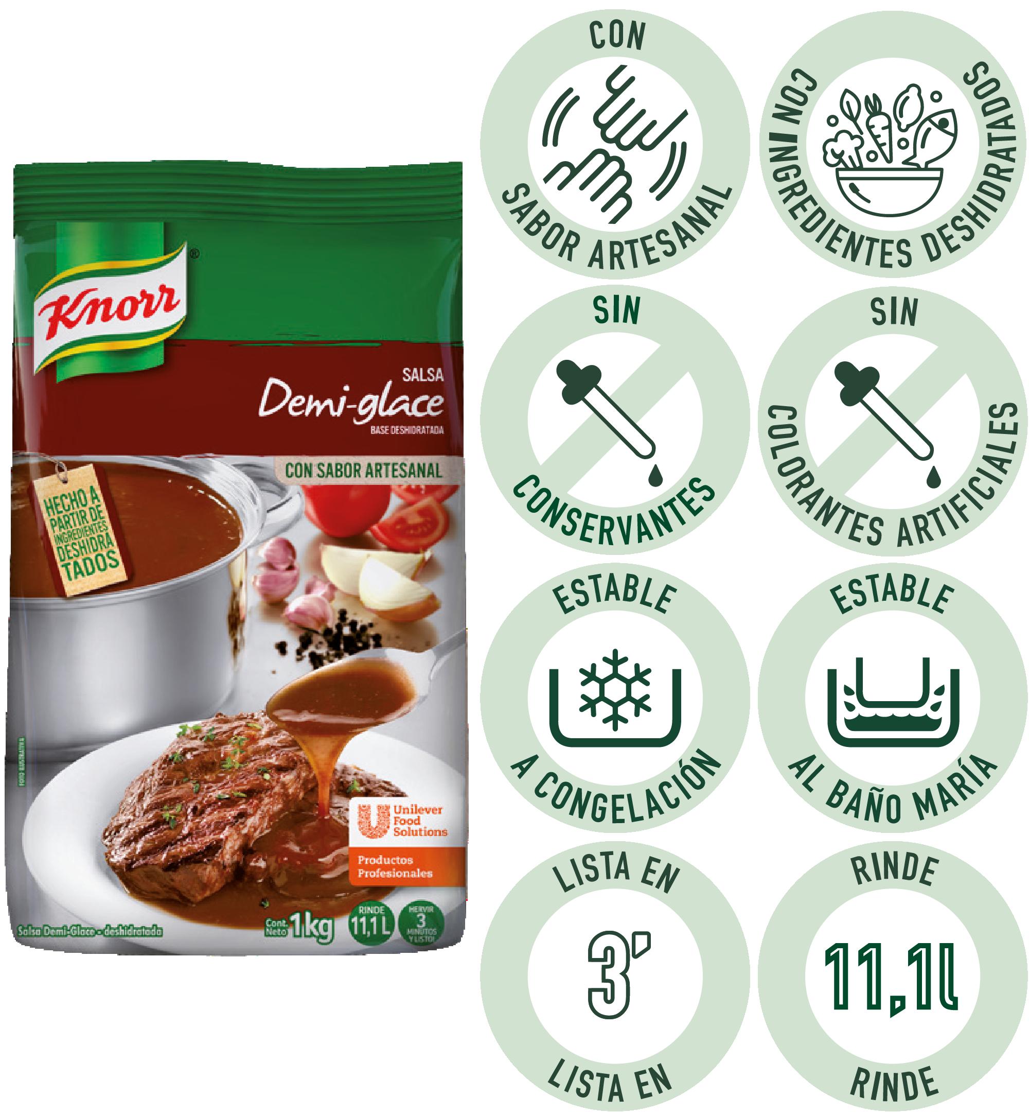 Salsa Demiglace Knorr 1 KG - La Salsa Demi-Glace Knorr te ofrece una excelente base, para inspirar tus creaciones en solo 3 minutos