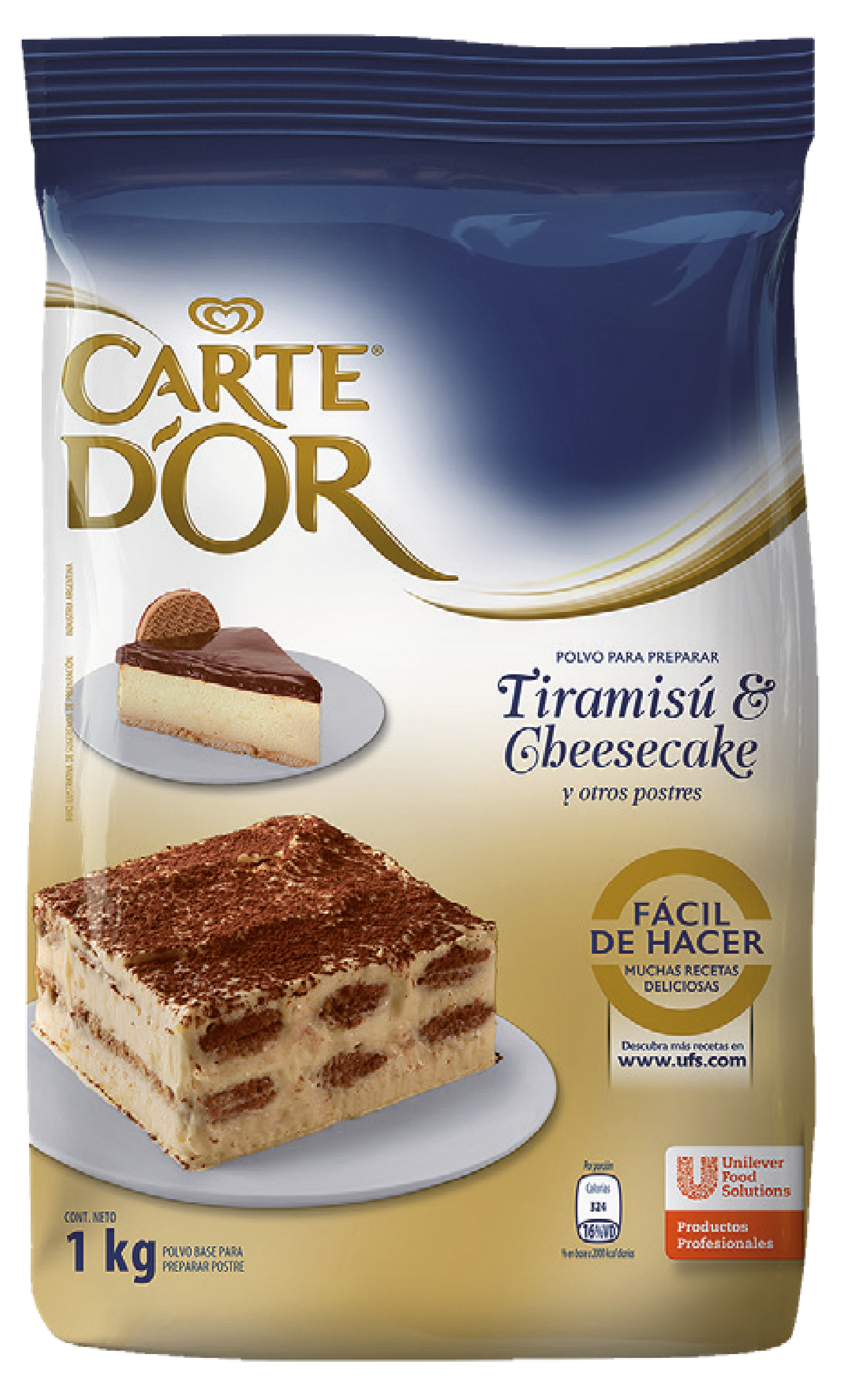 Tiramisú y Cheesecake Carte D'or 1KG - Polvo mezcla semi-preparada para postre Tiramisú y Cheesecake.