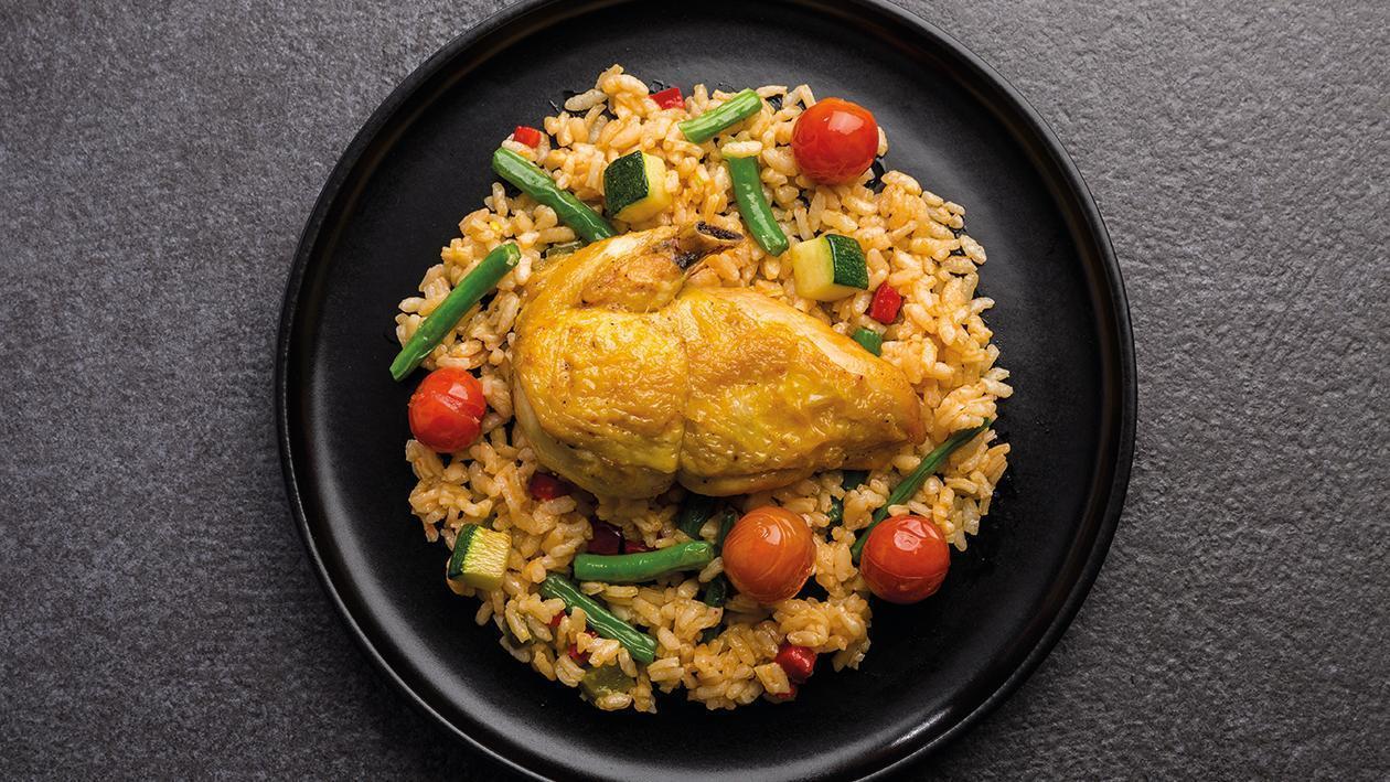 Arroz salteado con pollo