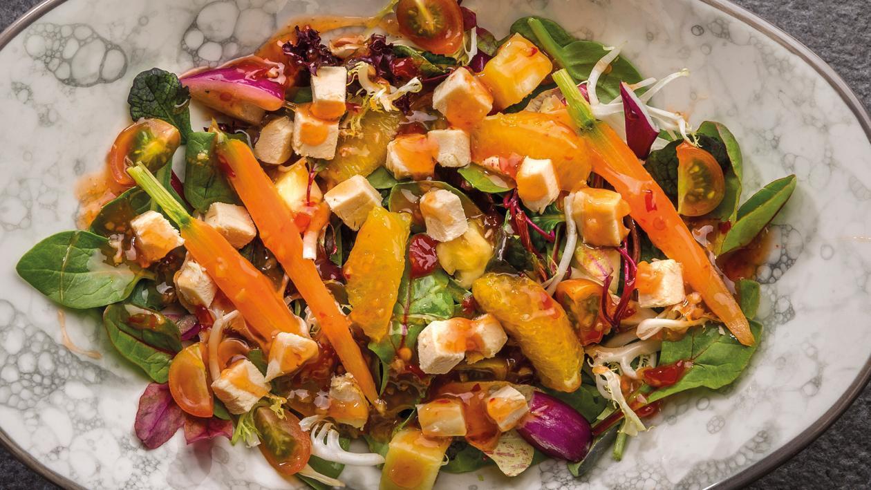 Ensalada agridulce de pollo y naranja