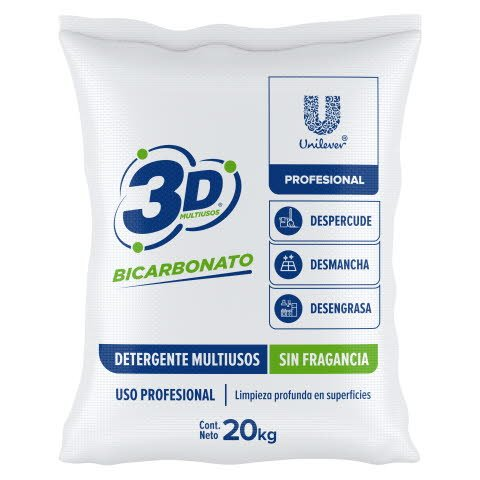 Detergente Polvo 3D Multiusos PRO 20Kg - Conoce nuestro detergente en polvo multiusos 20kg concentrado sin fragancia