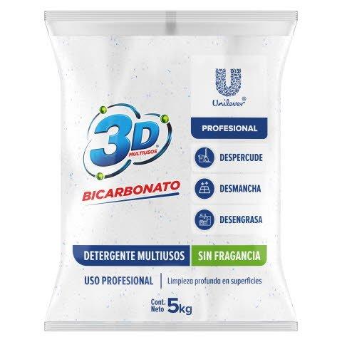 Detergente Polvo 3D Multiusos PRO 5Kg - Detergente en polvo multiusos 5kg concentrado sin fragancia
