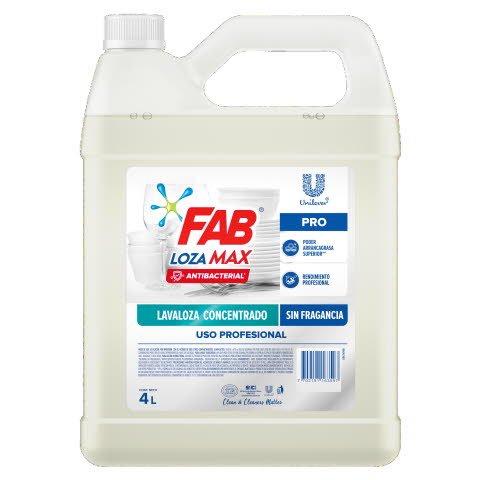 Lavaloza FAB Lozamax Antibacterial Pro 4L - Lavaloza líquido concentrado antibacterial sin fragancia