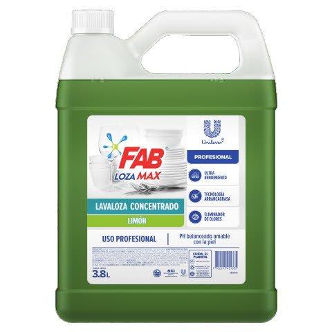 Lavaloza FAB Lozamax PRO limón 3.8L - Lavaloza líquido concentrado limón.
