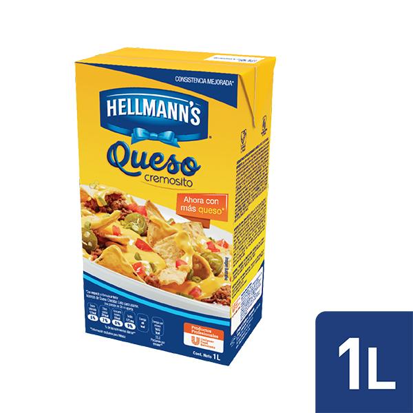 Hellmann's® Queso Cheddar 1 L - Con Hellmann's® Queso Cheddar puede realizar diversas preparaciones. Es un producto que esta listo para usarse y le sorprenderá por su auténtico sabor a Queso Cheddar.