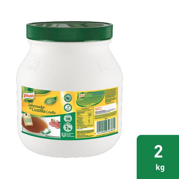 Knorr® Sabrosador de Costilla de Res Criolla - Resalta el sabor de tus caldos y marinados con Knorr® Sabrosador de Costilla de Res Criolla. Especialmente formulado para carnes rojas.