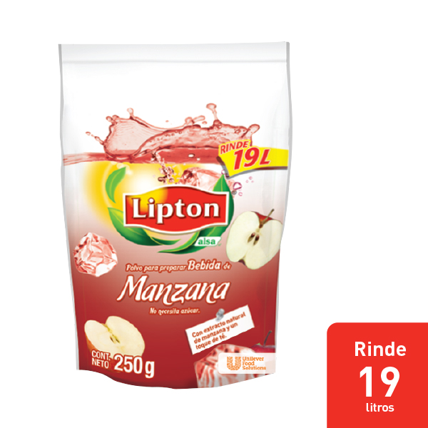 LIPTON® POLVO PARA PREPARAR BEBIDA DE MANZANA - Aguas Lipton® gran sabor y rendimiento dentro de mi menú.