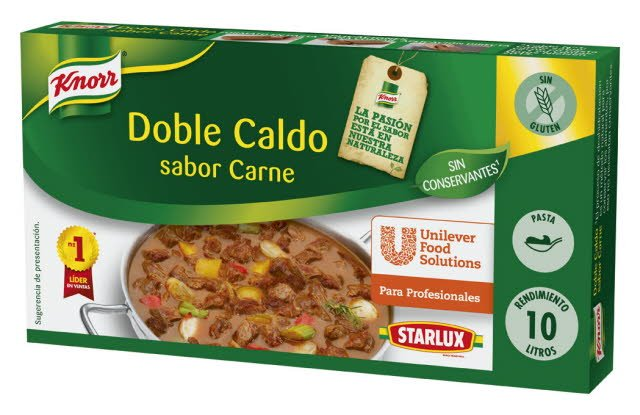 Knorr Caldo Doble Carne Pastilla Sin Gluten 200g -