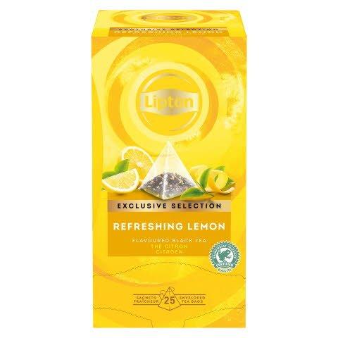 Té Negro Lipton Limón Refrescante, Caja con 25 sobres