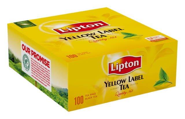Té negro Lipton Yellow Label, Caja con 100 sobres