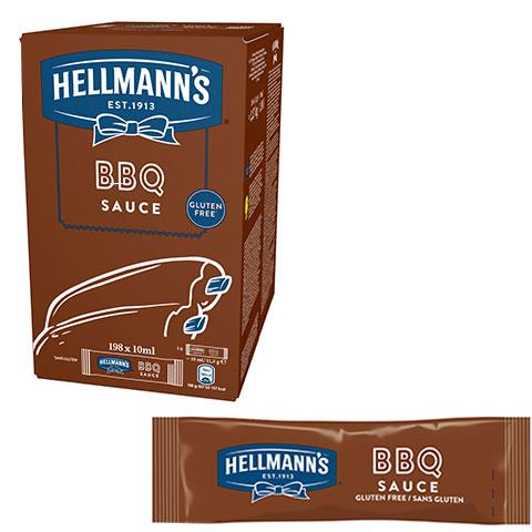 Barbacoa Hellmann's monoporciones 10ml. Caja de 198 uds. Sin Gluten - Ofréceles toda la calidad de Hellmann's en un práctico formato monoporción