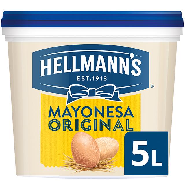 Hellmann's Original mayonesa sin gluten cubo 5L - Hellmann's Original, Nº1 Mejor Sabor: máxima estabilidad en cualquier aplicación tanto en frío como en caliente.