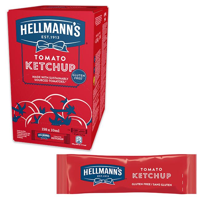 Ketchup Hellmann's monoporciones 10ml. Caja de 198 uds. Sin Gluten
