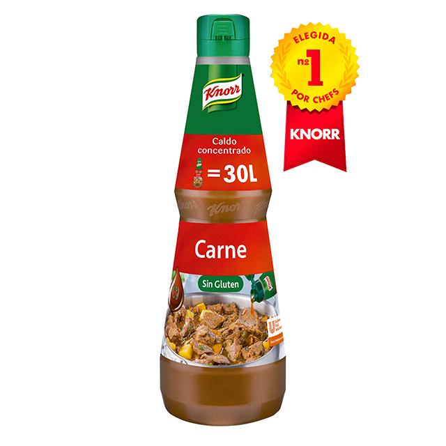 Knorr Caldo líquido concentrado de Carne Sin Gluten botella 1L - Caldos Líquidos Concentrados Knorr: Sabor natural al instante libre de alergenos*