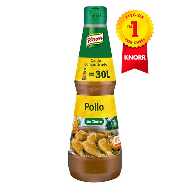 Knorr Caldo líquido concentrado de Pollo Sin Gluten botella 1L - Caldos Líquidos Concentrados Knorr: Sabor natural al instante libre de alergenos*
