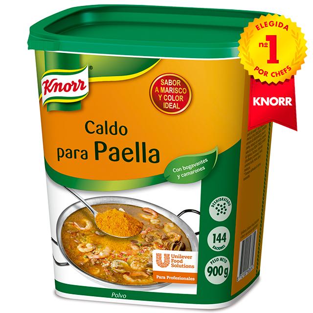 Knorr Caldo para paella deshidratado bote 900gr - Caldo de Paella Knorr, elegido Nº1 por chefs, aporta un auténtico sabor a marisco e intenso color a un precio asequible