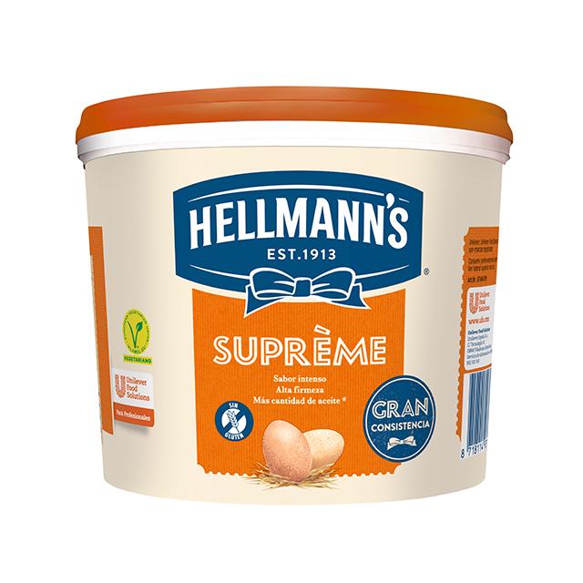 Mayonesa Hellmann's Gran Consistencia cubo 5L Sin gluten - Hellmann's Supreme, con un 77% de aceite, aporta volumen y gran consistencia a tus platos