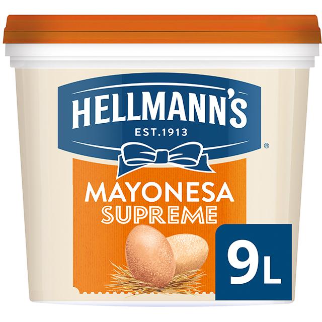 Mayonesa Hellmann's Gran Consistencia cubo 9L Sin gluten - Hellmann's Supreme, con un 77% de aceite, aporta volumen y gran consistencia a tus platos