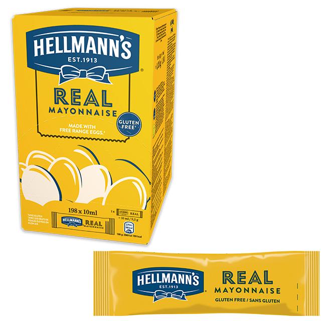 Mayonesa Hellmann's monoporciones 10ml. Caja de 198 uds. Sin Gluten - Ofréceles toda la calidad de Hellmann's en un práctico formato monoporción
