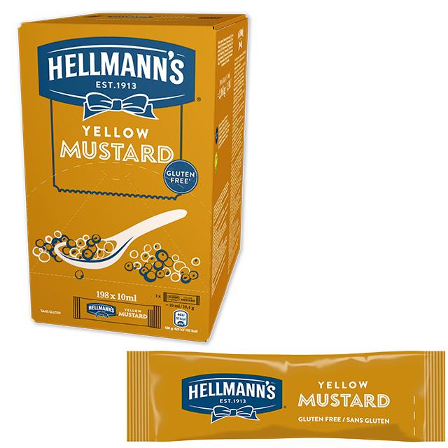 Mostaza Hellmann's monodosis 10ml. Caja de 198 uds. Sin Gluten