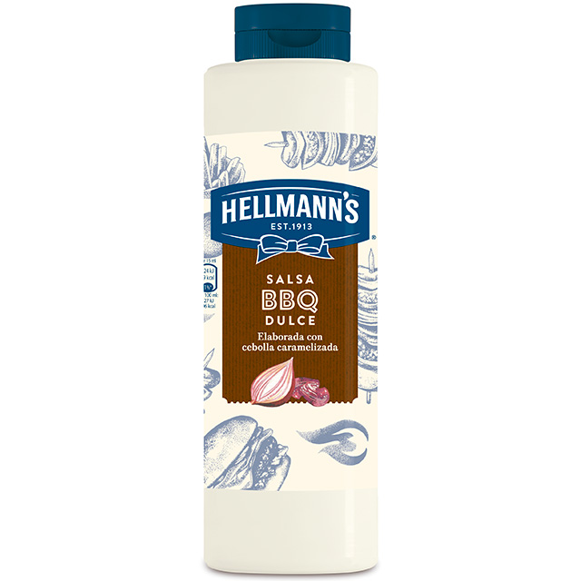 Salsa Barbacoa Dulce Hellmann's botella 792ML - Salsas Especiales Hellmann's. Nuevos y sorprendentes sabores en un práctico envase.