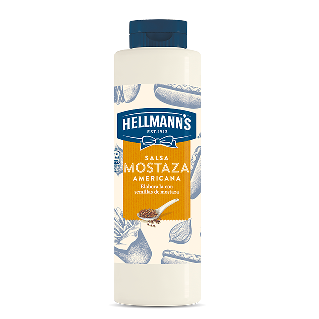Salsa de Mostaza Americana Hellmann's botella 850ML