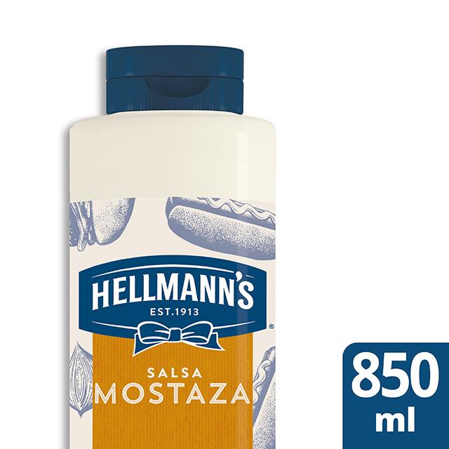 Salsa de Mostaza Americana Hellmann's botella 850ML Sin Gluten