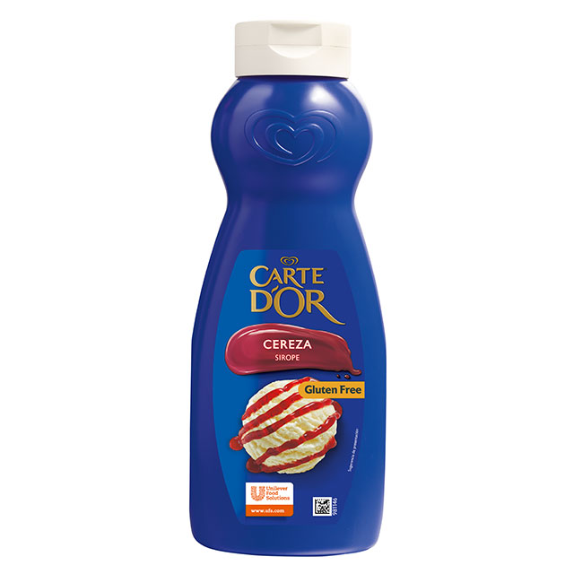 Sirope de Cereza Carte d'Or botella 1L Sin Gluten - La gama de Siropes Carte d'Or Profesional es la preferida por los chefs, debido a que está diseñada con colores y sabores para seducir con tus postres